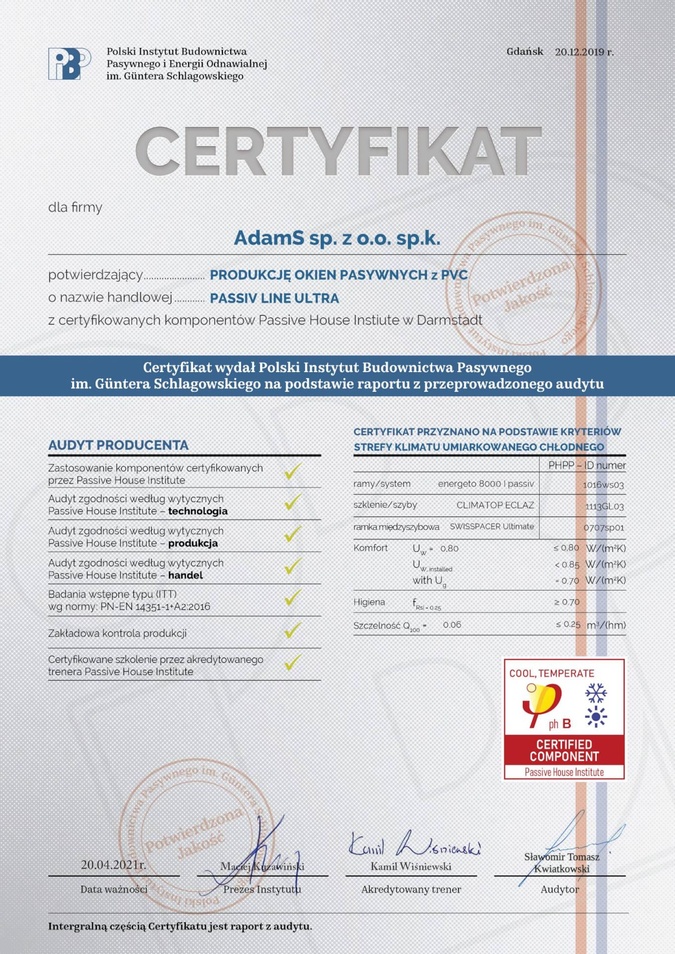 Certyfikat Komponentu Pasywnego